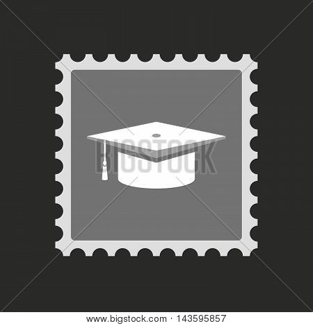 Isolated Mail Stamp Icon With A Graduation Cap