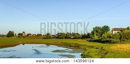Natural pond in the floodplains on the outskirts of a Dutch village. A heron stands on the waterfront and other water bird just flies away.