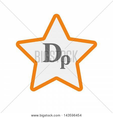 Isolated Line Art Star Icon With A Drachma Currency Sign