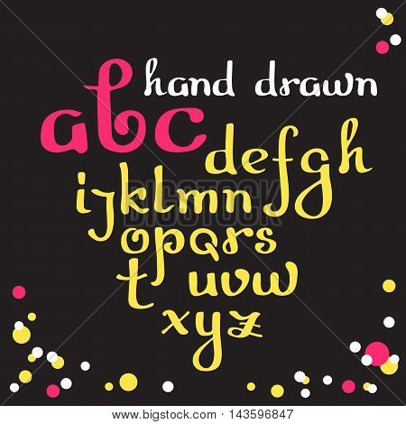 Hand drawn letters. Vector cursive alphabet Lowercase