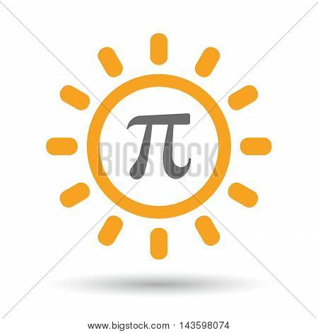 Isolated Line Art Sun Icon With The Number Pi Symbol
