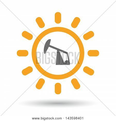 Isolated Line Art Sun Icon With A Horsehead Pump