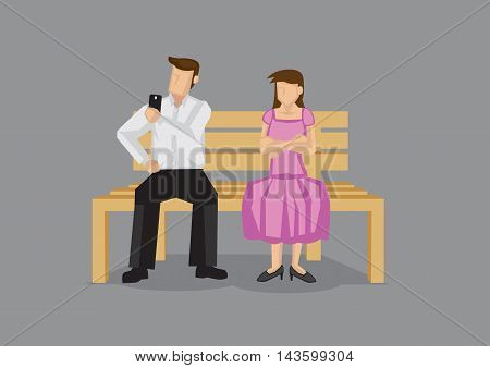 Cartoon man checking his mobile phone on a date and neglecting girlfriend leaving her pissed. Vector cartoon illustration on technology and social etiquette concept isolated on plain grey background.