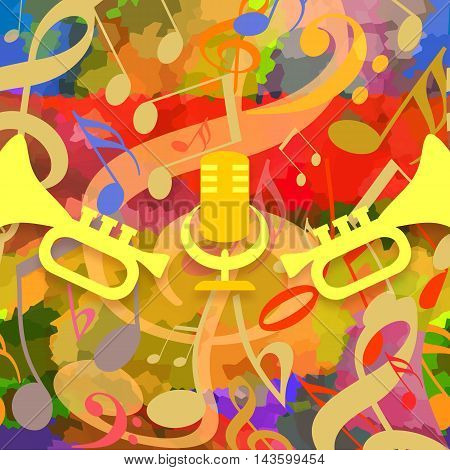 Colorful music background with trumpets and microphone