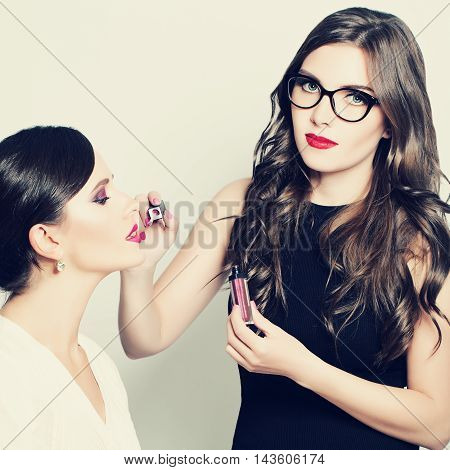 Makeup Artist Applying Makeup Beauty Fashion Model Woman
