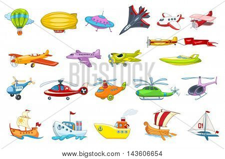 Set of air and water transport vehicles illustrations. Collection of air balloon, various planes, flying saucer, helicopters, sea craft, ship, boat. Vector illustration isolated on white background.