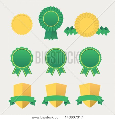 Heraldic emblem shields awards with ribbons. Set of Flat ribbons awards vector graphic