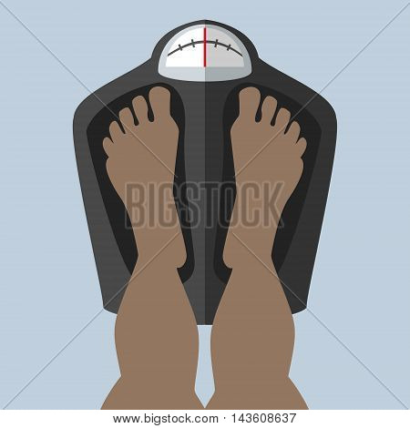 Foot stand on the scales weighed checks the weight African American