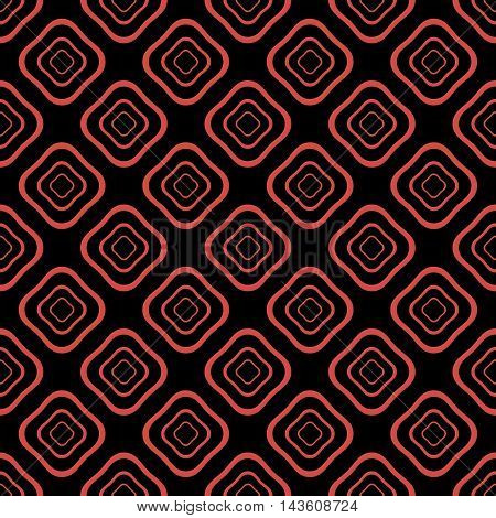 Abstract seamless pattern of distorted square shaped geometric elements with rounded corners one inside the others in red and black colors. Vector illustration for fabric, paper and other