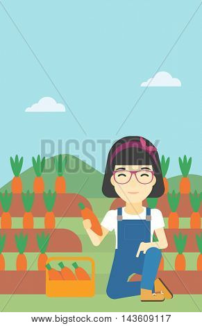 An asian female farmer collecting carrots in basket. Young farmer holding a carrot on the background of field. Vector flat design illustration. Vertical layout.