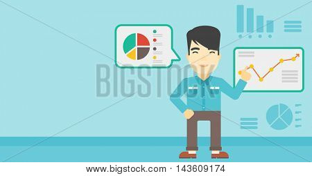 Asian businessman pointing at charts on a board during business presentation. Man giving a business presentation. Business presentation in progress. Vector flat design illustration. Horizontal layout