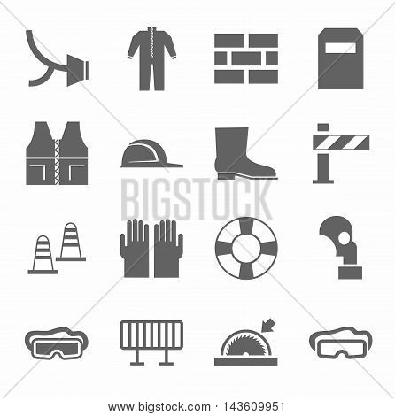 Occupational safety, personal safety, icons monochrome flat. Vector icons with protective clothing and items of human security. Monochrome picture on a white background.
