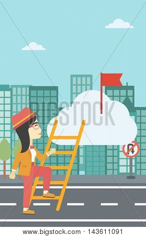 An asian young business woman climbing up the ladder to get the red flag on the top of the cloud on a city background. Vector flat design illustration. Vertical layout.
