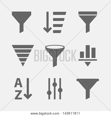 Vector set of icons for filtering of information or data. Simple options icon filter for web sites and mobile applications.