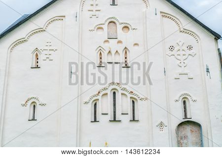Architectural elements of the ancient ancient church of the Transfiguration of Our Savior on Ilin street in Veliky Novgorod Russia