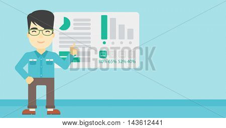 An asian businessman pointing at charts on a board during business presentation. Man giving business presentation. Business presentation in progress. Vector flat design illustration. Horizontal layout