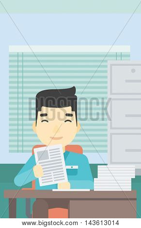 An asian  young human resources manager reading application portfolios in the office. Concept of recruitment of staff, job interview. Vector flat design illustration. Vertical layout.