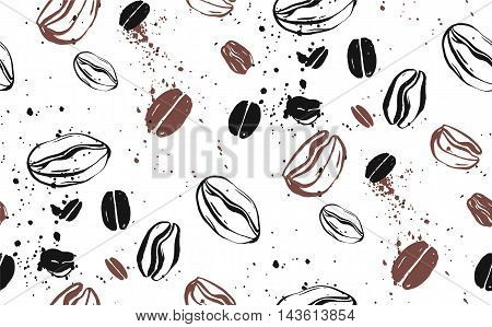 Seamless coffee background with coffee beans and splash. Hand drawn abstract textured vector illustration in sketch style.