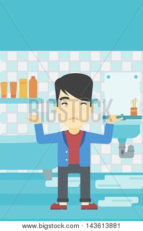 An asian man with spread arms standing near leaking sink in the bathroom vector flat design illustration. Vertical layout.