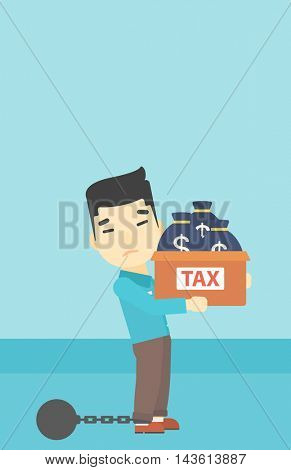 Chained to a large ball an asian businessman carrying heavy box with bags full of taxes. Vector flat design illustration. Vertical layout.