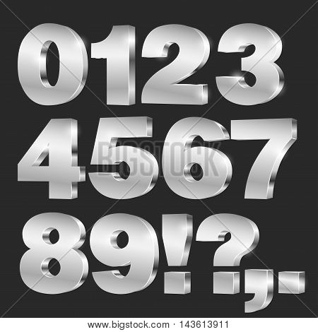 3D vector numbers, set from 0 to 9, metallic chrome on black background