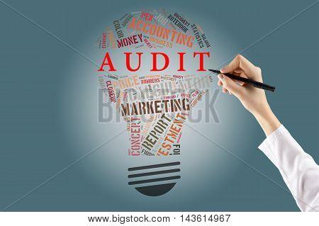 Audit Bulb Words Cloud.Hand holding pen. Business concept.