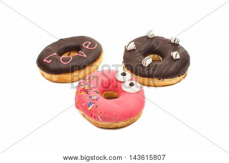 creative donuts  round, snack on a white background