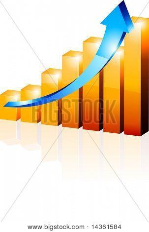 3d growth diagram. Vector illustration.