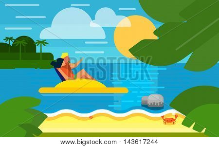 Summer banner vector illustration. Seascape with couple on yellow water bike. Summer beach with sea crab, palm trees and sunset. Tropical scenery. Natural seascape. Summer vacation