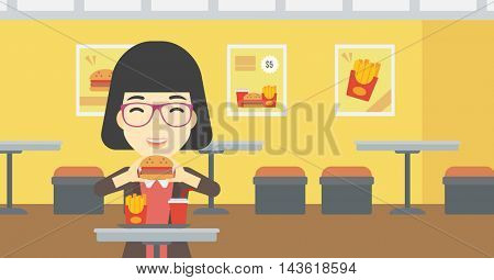 An asian young woman eating hamburger. Happy woman with eyes closed craving hamburger. Woman is about to eat delicious hamburger in the cafe. Vector flat design illustration. Horizontal layout.