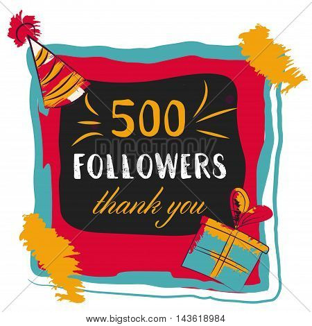 The vector thanks card for network friends with colorful bubbles. Thank you 500 followers colored numbers. 500 follow gratitude number