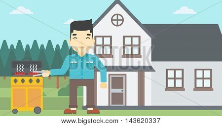 An asian man cooking meat on gas barbecue grill in the backyard. Man preparing food on barbecue grill. Man having outdoor barbecue. Vector flat design illustration. Horizontal layout.