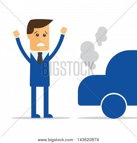 Businessman car broke down vector eps 10