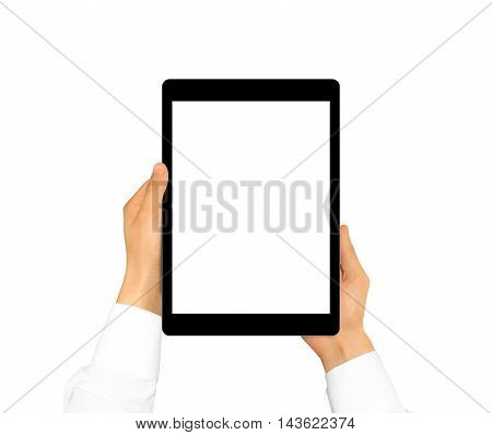 Hand holding blank tablet mock up isolated. New portable pc screen presentation. Empty display device mockup. Space touchscreen gadget hold in hands. Black hd wide screen monitor holder.