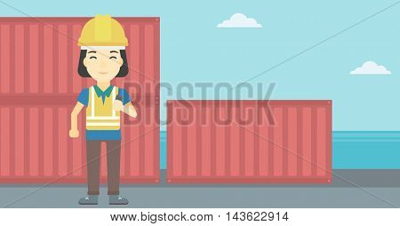An asian port worker talking on wireless radio. Port worker standing on cargo containers background. Woman using wireless radio. Vector flat design illustration. Horizontal layout.