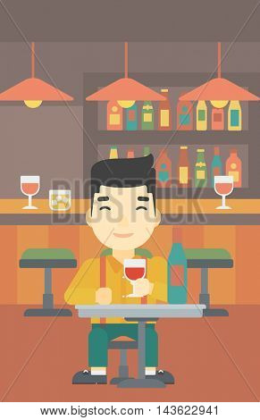 An asian man sitting at the table with glass and bottle of wine. Man drinking wine at bar. Man enjoying a drink at wine bar. Vector flat design illustration. Vertical layout.