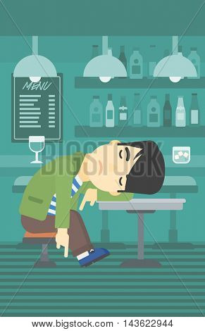 An asian drunk man deeply sleeping near the bottle of wine and glass on table. Drunk man sleeping in bar. Alcohol addiction concept. Vector flat design illustration. Vertical layout.