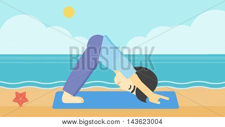 An asian young man standing in yoga downward facing dog pose on the beach. Man doing yoga on nature. Vector flat design illustration. Horizontal layout