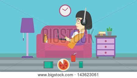 An asian woman relaxing on a sofa with many gadgets. Woman lying on sofa surrounded by gadgets and fast food. Woman using gadgets at home. Vector flat design illustration. Horizontal layout