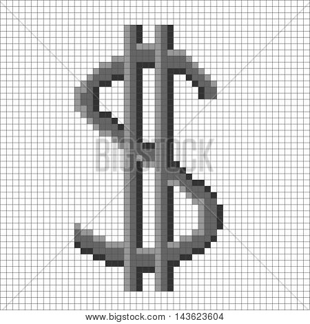 Sign pixel dollar grey in grid. Monochrome icon isolated on white lattice background. Pixelated design. Logo for business. American finance symbol made of pixels. Mark of commerce. Vector illustration