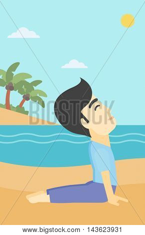 An asian young man practicing yoga upward dog pose. Man meditating in yoga upward dog position on the beach. Man doing yoga on nature. Vector flat design illustration. Vertical layout.