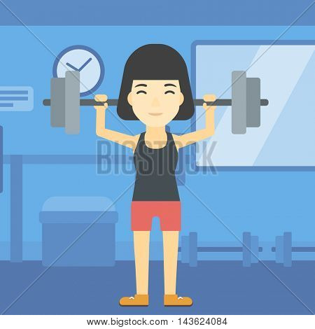 An asian young woman lifting a heavy weight barbell. Sports woman doing exercise with barbell in the gym. Female weightlifter holding a barbell. Vector flat design illustration. Square layout.