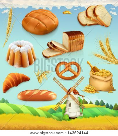 Farm. Wheat and bread. Food 3d vector set