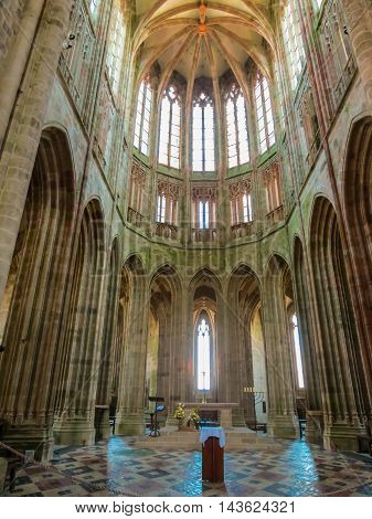 MONT SAINT-MICHEL, FRANCE - MAY 04, 2014: Interior of the Mont Saint-Michel Abbey, France