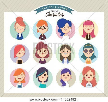 Set of women avatars