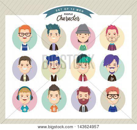 Set of men avatars