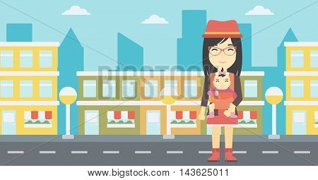 An asian mother carrying daughter in sling. Mother with baby in sling walking in the city street. Young mother carrying a newborn in sling. Vector flat design illustration. Horizontal layout.