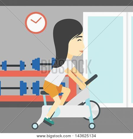 An asian young woman riding stationary bicycle. Sporty woman exercising on stationary training bicycle in the gym. Woman training on exercise bike. Vector flat design illustration. Square layout.
