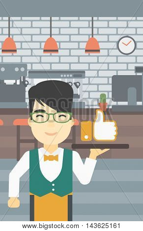 An asian young waiter carrying tray with like button. Waiter holding restaurant tray with like button on a cafe background. Vector flat design illustration. Vertical layout.