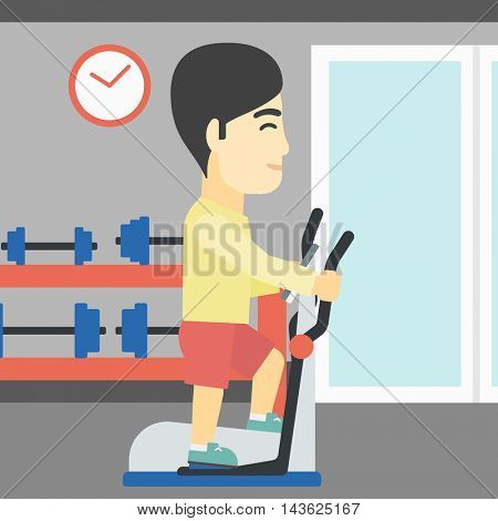 An asian young man exercising on elliptical trainer. Man working out using elliptical trainer at the gym. Man using elliptical trainer. Vector flat design illustration. Square layout.